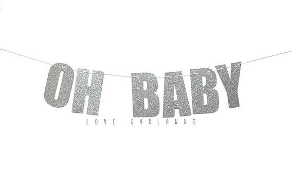Oh Baby Glitter Letter Banner Oh Baby Letter by LoveGarlands