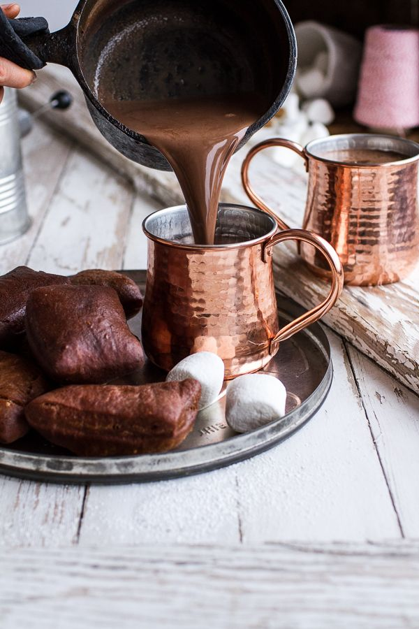 Gingerbread Surprise Beignets with Spiced Mocha Hot Chocolate | HBH