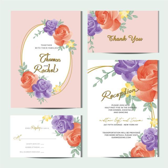 Wedding Set Of Invitation Cards Wedding Invitation Card Template Wedding Prints Watercolor Wedding Invitations