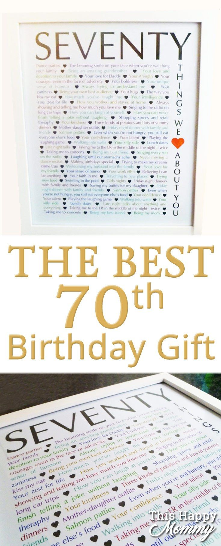 70 Things We Love About You The Perfect Homemade 70th Birthday Gift