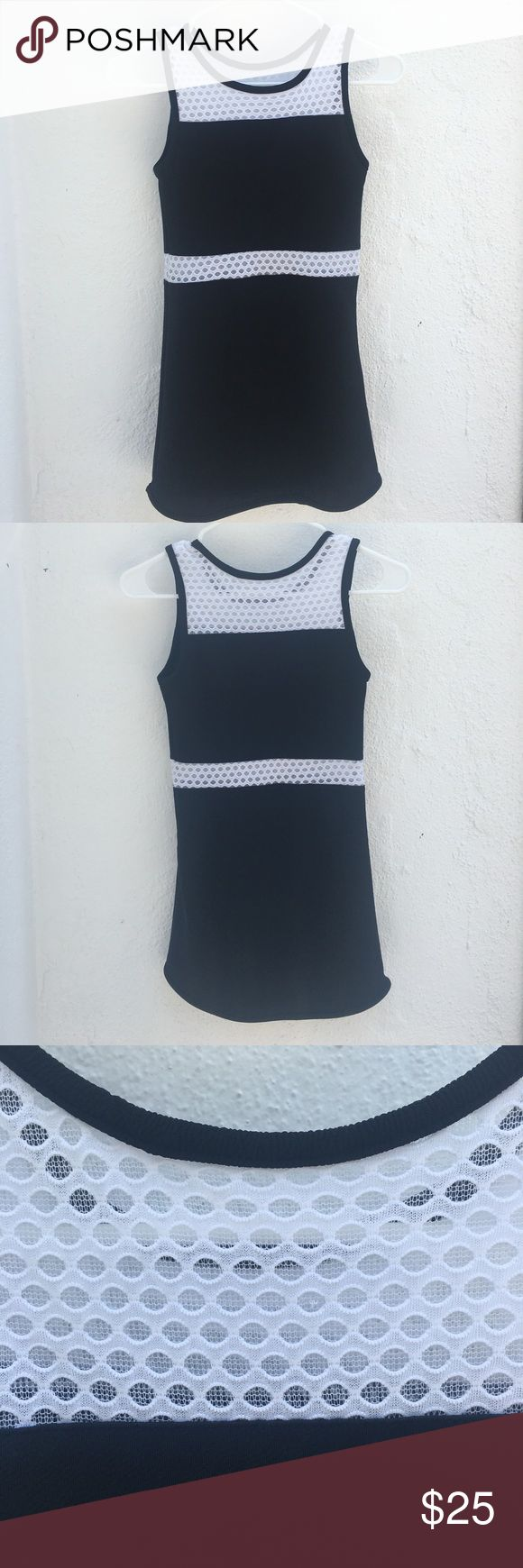 Black and White Dress Black Dress with white mesh accents Sally Miller Couture Dresses