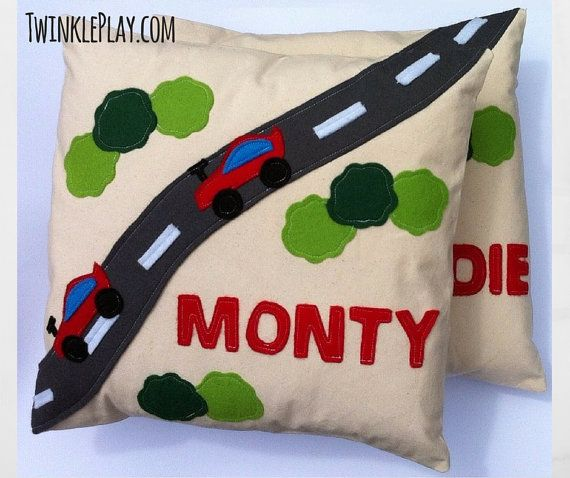 Children's Personalised Cushion Racing Car Theme Child's Customised Name Pillow   #Applique #Transport #Nursery #Bedroom #Present. #Cushion #Personalised #PersonalisedCushion #KidsGift #KidsCushion #Child'sGift