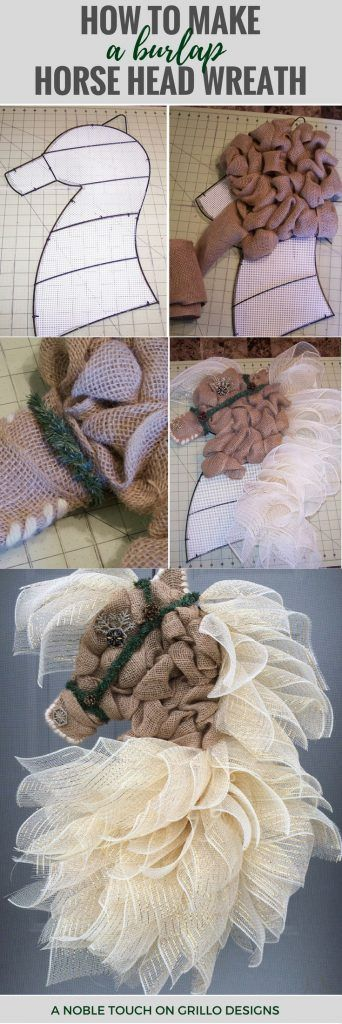 How To Make A Burlap Horse Head Wreath • Grillo Designs