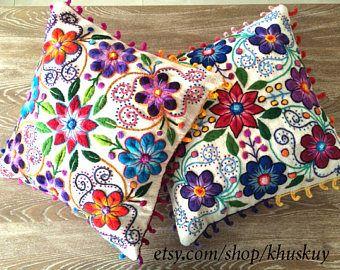 ¡Nuevo en stock! Perú fundas bordadas flores 16 x 16 ovejas y alpaca de lana hechas a mano Set de crema 2