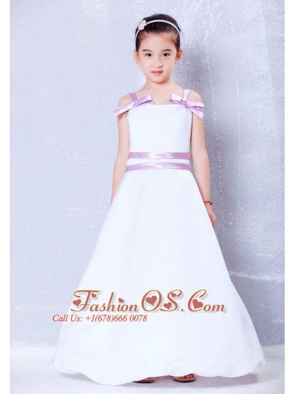 Sweet White and Lavender A-line Straps Bows Flower Girl Dress Ankle-length  Taffeta