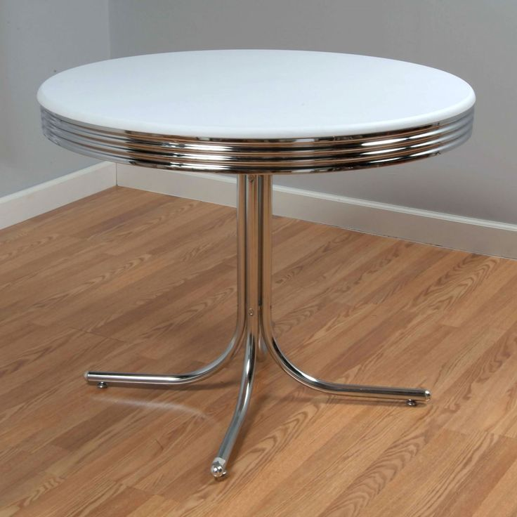 Create A Fun And Unique Dining Area With The Retro Design Of This Dining  Table. The Round Top In A White Finish, Rippled Chrome Rim, And Chrome  Single ... Part 30