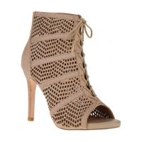 JOIE Shari Embossed Leather and Suede Lace-Up Booties