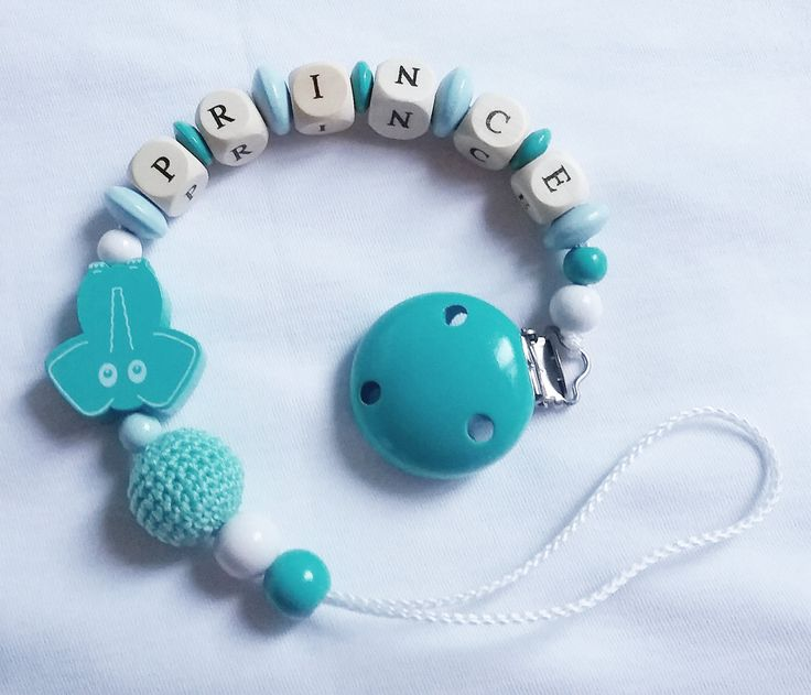 dummy chain with name/ Schnuller-Clip /turquoise/elephant/ prince by gingermood on Etsy