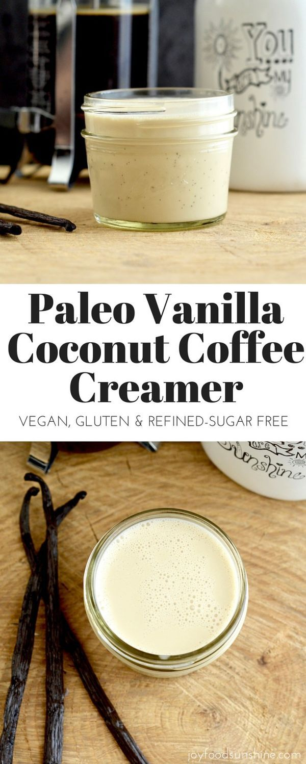 Paleo Vanilla Coconut Coffee Creamer! Only 4 ingredients, this recipe is EASY, and way healthier than store-bought versions! Dairy-free, refined-sugar free, paleo, and vegan! Pin this healthy, clean eating creamer recipe to make later!