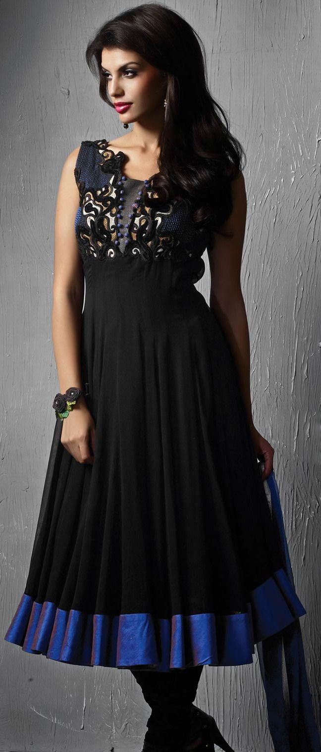 #Black Faux #Georgette Readymade #Anarkali Churidar Kameez @ $ 177.08