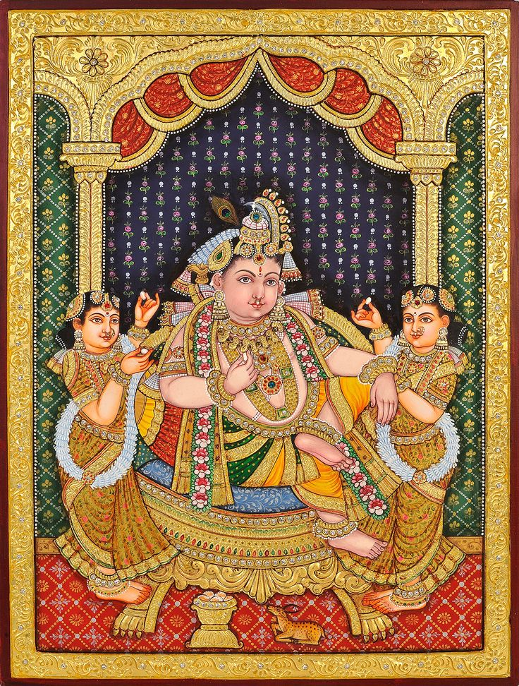 Krishna with Satyabhama and Rukmani Offering Him Sweets