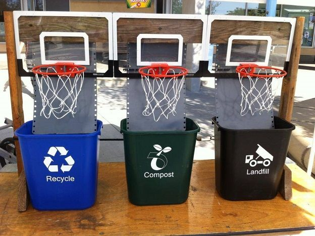 Homemade Basketball Game Participants Have A Bin Full