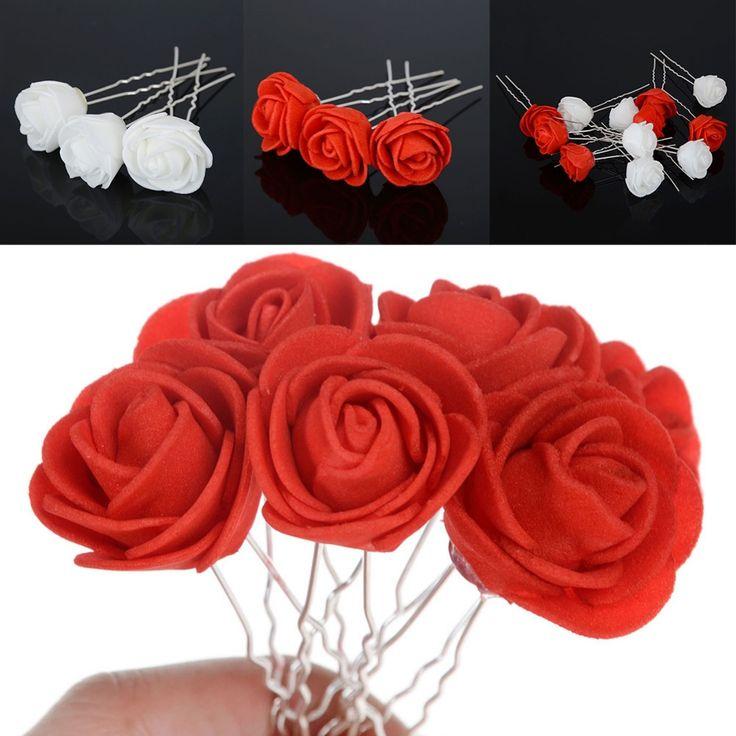 6pcs Beach Rose/Daisy Hairpins Bridesmaid Headwear Hair Pins Wedding Bridal Accessories Flower Hair Clips Tiara Jewelry Wholesal