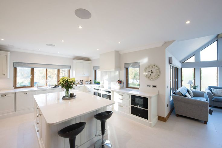 Light, bright and airy open plan kitchen. Dream home kitchen inspiration.