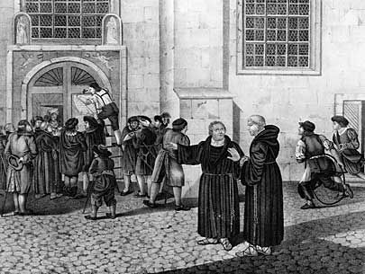 1517 – Protestant Reformation: Martin Luther posts his 95 theses on the door of the Castle Church in Wittenberg. | ... image of martin luther posting his 95 theses the 95 these were the way