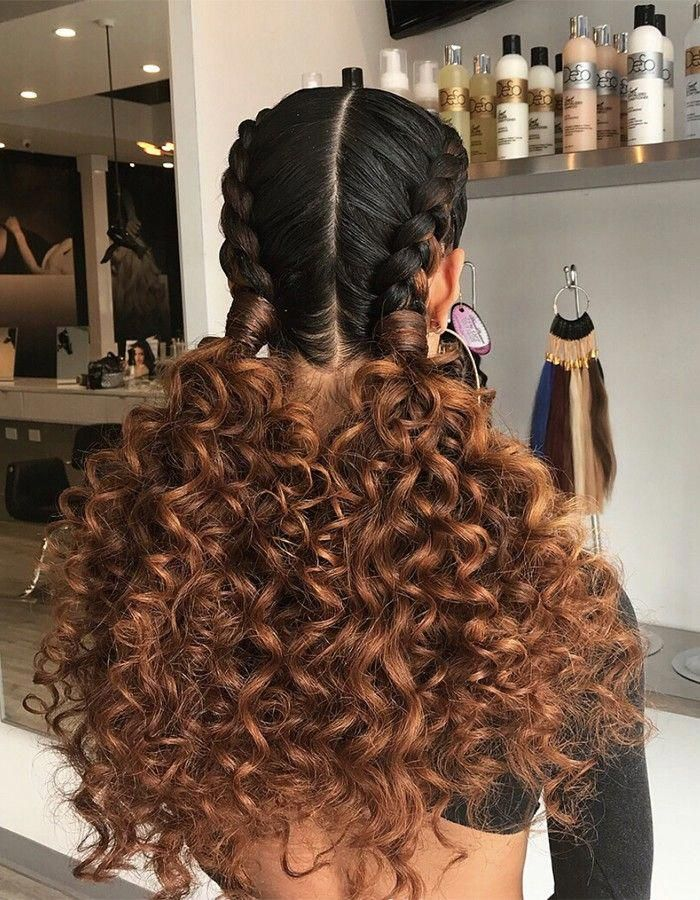 Double French Braids With Curly Extensions Braidedhairstyles Curly Hair Styles Naturally Curly Hair Styles Curly Hair Braids