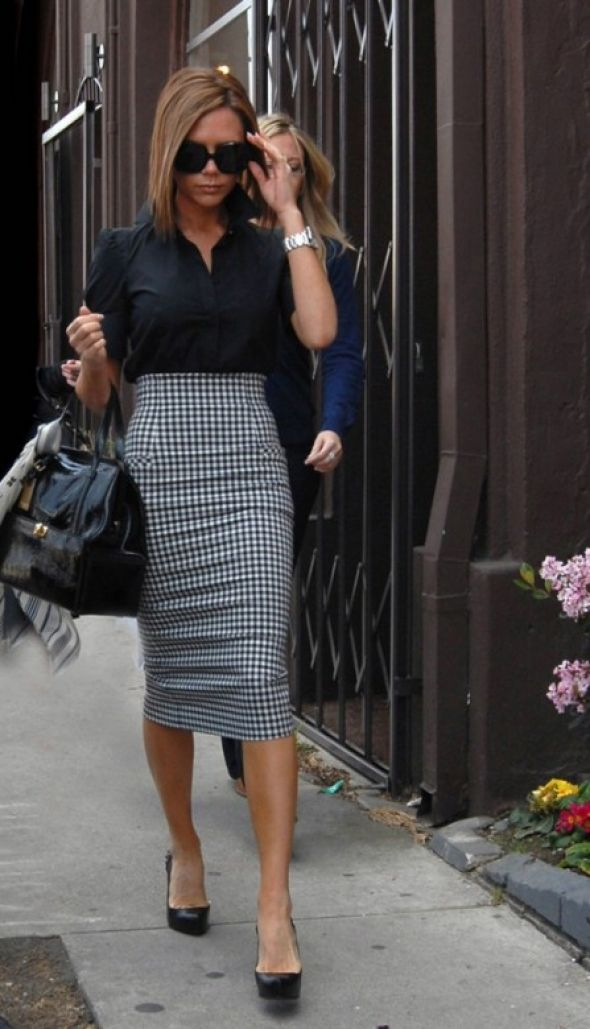 long tight houndstooth pencil skirt black blouse and black