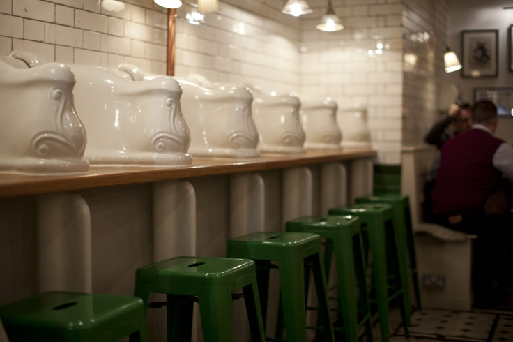 Victorian urinal seating bank. First installed around 1890. Cleaned and restored 2013. (via Attendant... a London coffee shop)