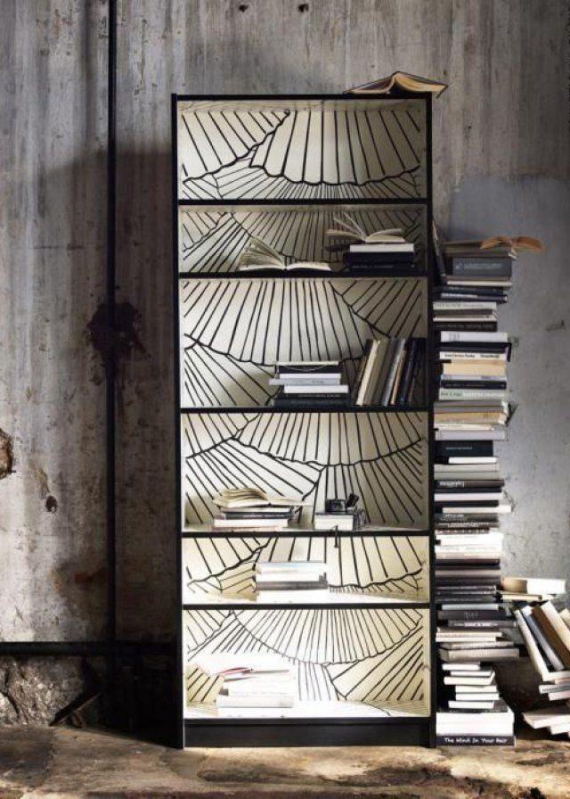 La bibliothèque Billy en noir et blanc
