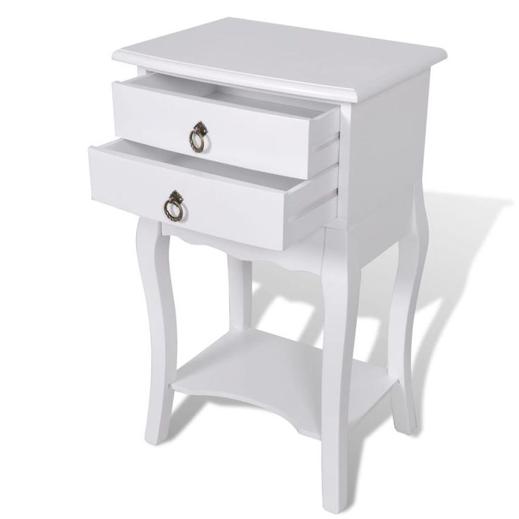Home Bedside Cabinet Table Furniture Bedroom White Nightstand Drawer Telephone #HomeBedsideCabinet