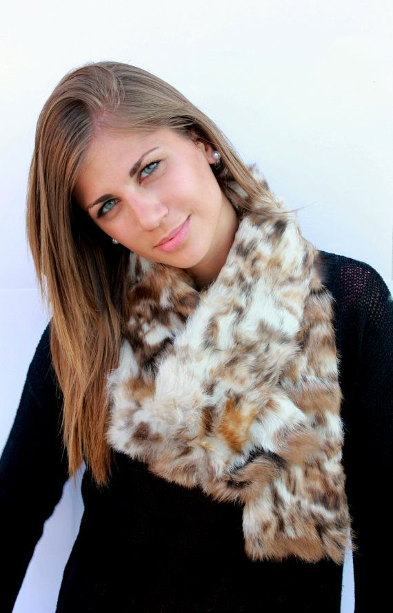 Handmade unique Fur scarf made with really soft eco rubbit fur