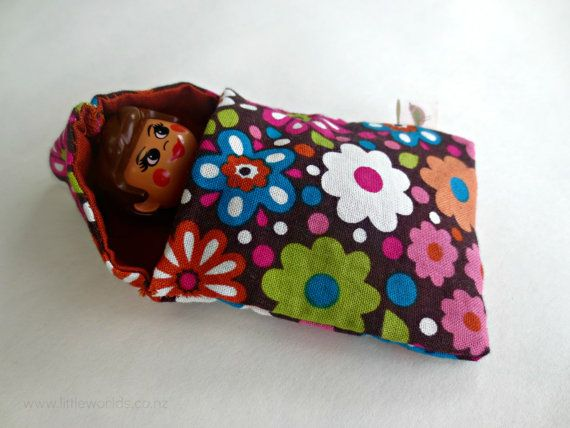 Mini Sleeping Bag for Little Figurines ~ perfect for setting up small worlds, enouraging creative play and sparking the imagination in children, by LittleWorldsShop on Etsy