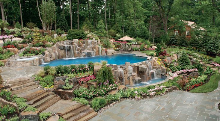 This multi level patio/pool is amazing.  It features fountains, water falls, and stunning scenery.