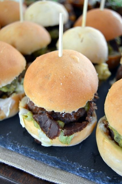 Mini Gourmet Beef Burgers with Guacamole, Feta & Biltong