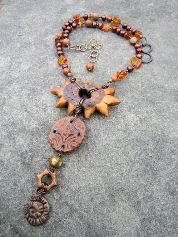 """Bronze Sun Tribal Rustic Organic Polymer Artisan by stacilouise - with a Starry Road Studio ceramic """"Shield"""" focal."""