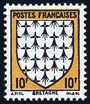 Armoiries de Bretagne Armoiries des provinces françaises (Première série) - Timbre de 1943