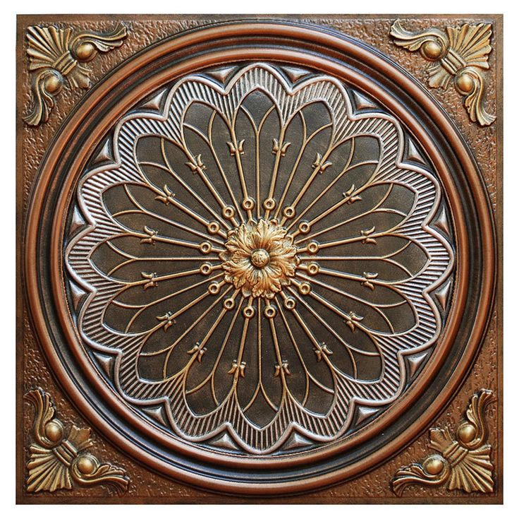 Rose Window Fad Hand Painted Ceiling Tile Ctf 007