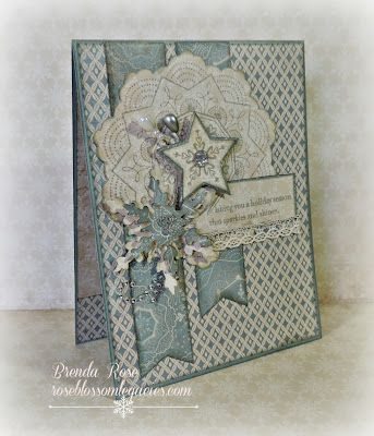Rose Blossom Legacies - Frosted paper with Classic Doily and Yuletide Greeting stamp sets