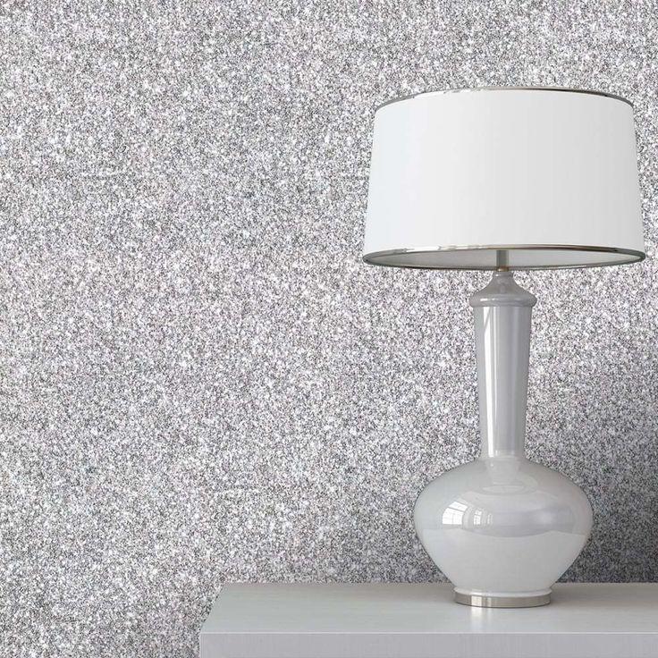Muriva Sparkle Silver Glitter Feature Wallpaper (701352