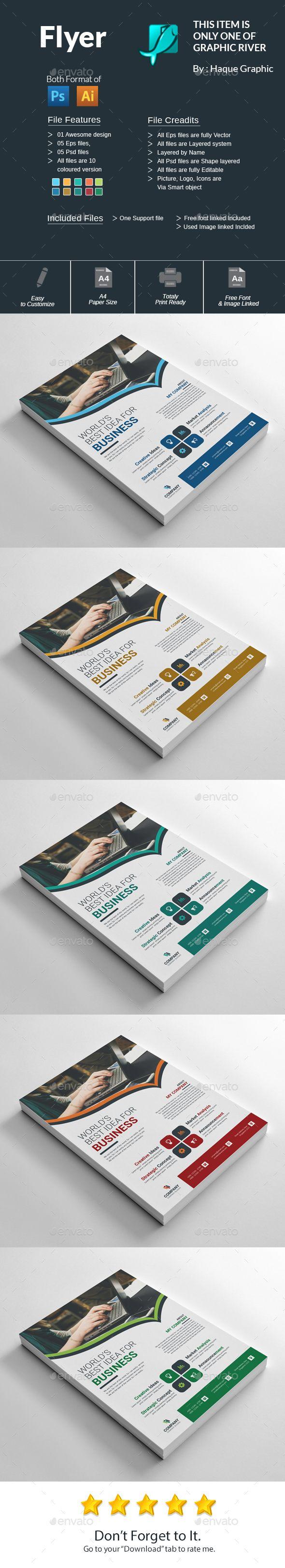 Flyer Template PSD, Vector EPS, AI Illustrator