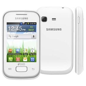 Celular Desbloqueado Samsung Galaxy Pocket Duos Branco GT-S5302 com Android 2.3, Wi-Fi, 3G, GPS, Câmera 2MP, Rádio, MP3, Touch, Bluetooth e Fone