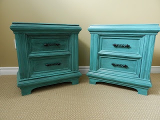 I just LOVE painted furniture! Made over nightstands in teal!