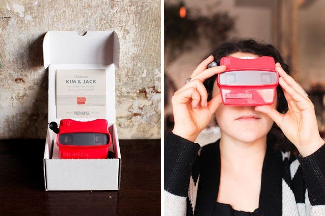 Viewmaster Invite: It's surprisingly affordable to get a custom Viewmaster made for your wedding invite. This couple featured photos from a road trip