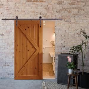 CALHOME 79 in. Classic Bent Strap Barn Style Sliding Door Track and Hardware Set SDH-SWD11-AB-79 at The Home Depot - Mobile