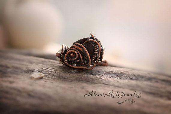 Сooper Ring Pearl Heart Jasper ring Pearl by SelenaStyleJewelry