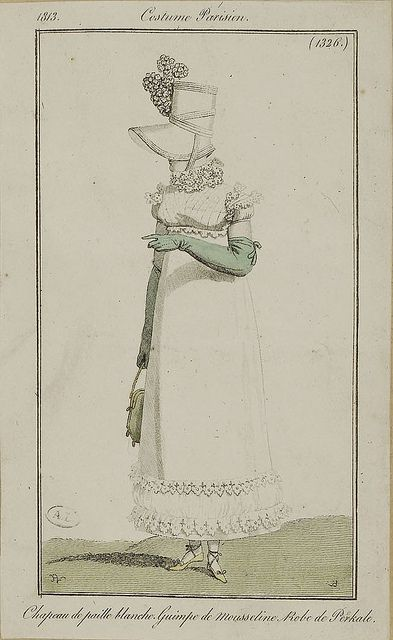 1813 Costume Parisien. Hat of white straw. Guimpe (tucker/chemisette worn over the bodice) of muslin. Dress of cotton.