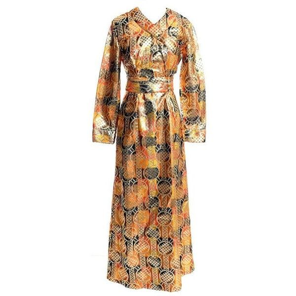 Preowned 1960s Krist Mod Gold & Copper Lame Metallic Vintage Maxi... ($475) ❤ liked on Polyvore featuring dresses, brown, maxi dress, sleeve maxi dress, gold maxi dress, formal dresses, sparkly dresses and gold formal dresses