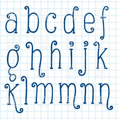 Handwritten small letters on checkered paper - pen font, 29702, download royalty-free vector clipart (EPS)