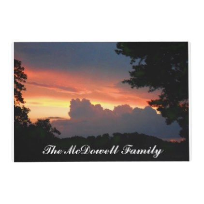 Gorgeous Sunset Photo Placemat family name Placemat - kitchen gifts diy ideas decor special unique individual customized