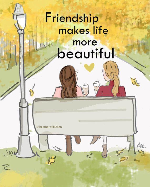 Vriendschap maakt het leven meer mooie-herfst - kunst voor vrouwen - offertes voor vrouwen - kunst voor vrouwen - inspirerende kunst