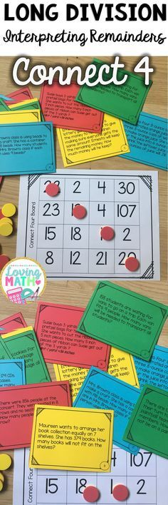 Interpreting Remainders Division Word Problems Connect 4 Game.