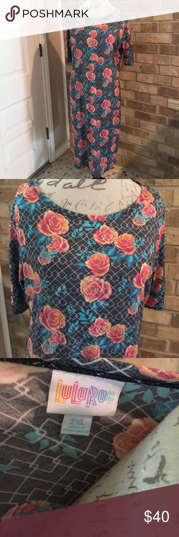 LuLaRoe Roses Julia Dress Sz 2XL. This is such a comfortable and flattering dress. Only worn twice and washed per Lula standards. Gorgeous rose print. LuLaRoe Dresses Midi
