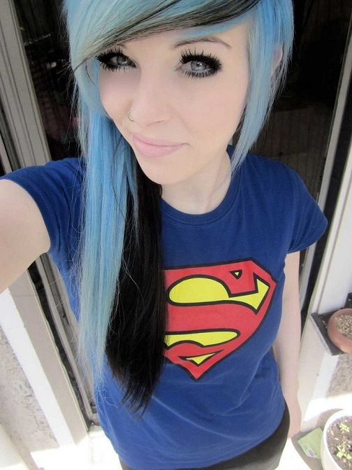 Nude goth girl with blue hair