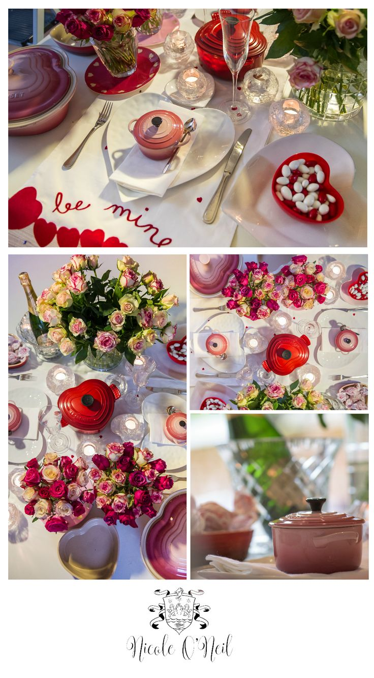 Create a sweet table setting for your Valentine's Day Celebration with inspiration from the Real Housewives of Sydney's Nicole O'Neil. With pink, white, red and cream roses, heart shaped Le Creuset Casserole Dishes, candles and more, this romantic look is perfect for two or a crowd.