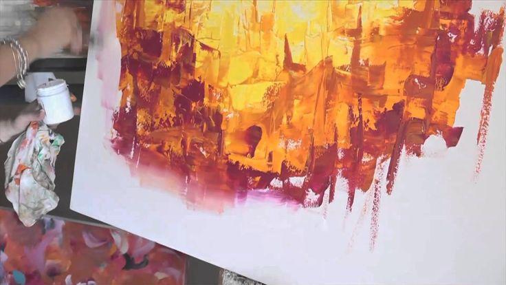Como pintar con Acrilicos Cuadro Abstracto -de barco- Paso a Paso - Gabriela Mens...