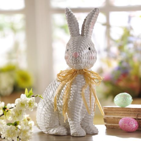 Wicker Easter Bunny Statue